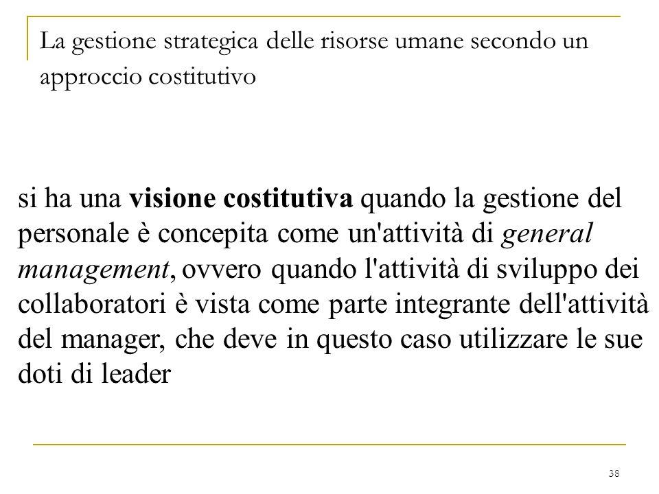 38 La gestione strategica delle risorse umane secondo un approccio costitutivo si ha una visione costitutiva quando la gestione del personale è concep