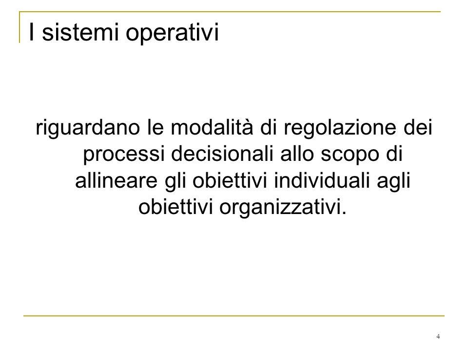 4 I sistemi operativi riguardano le modalità di regolazione dei processi decisionali allo scopo di allineare gli obiettivi individuali agli obiettivi