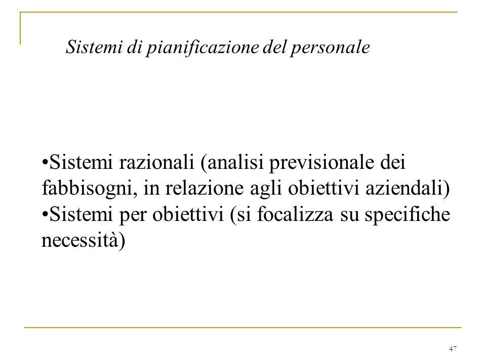 47 Sistemi di pianificazione del personale Sistemi razionali (analisi previsionale dei fabbisogni, in relazione agli obiettivi aziendali) Sistemi per