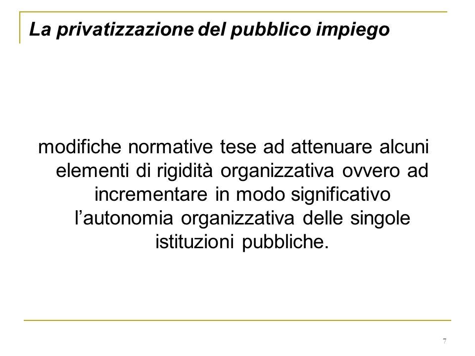 7 La privatizzazione del pubblico impiego modifiche normative tese ad attenuare alcuni elementi di rigidità organizzativa ovvero ad incrementare in mo