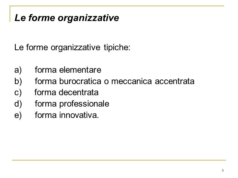 9 Le forme organizzative Le forme organizzative tipiche: a) forma elementare b) forma burocratica o meccanica accentrata c) forma decentrata d) forma