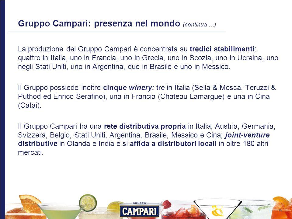 15 Gruppo Campari: presenza nel mondo (continua …) La produzione del Gruppo Campari è concentrata su tredici stabilimenti: quattro in Italia, uno in F