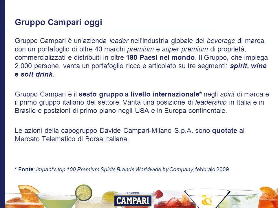 9 Gruppo Campari oggi Gruppo Campari è unazienda leader nellindustria globale del beverage di marca, con un portafoglio di oltre 40 marchi premium e s