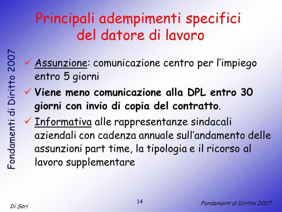 14 Di Seri Fondamenti di Diritto 2007 Assunzione: comunicazione centro per limpiego entro 5 giorni Viene meno comunicazione alla DPL entro 30 giorni con invio di copia del contratto.