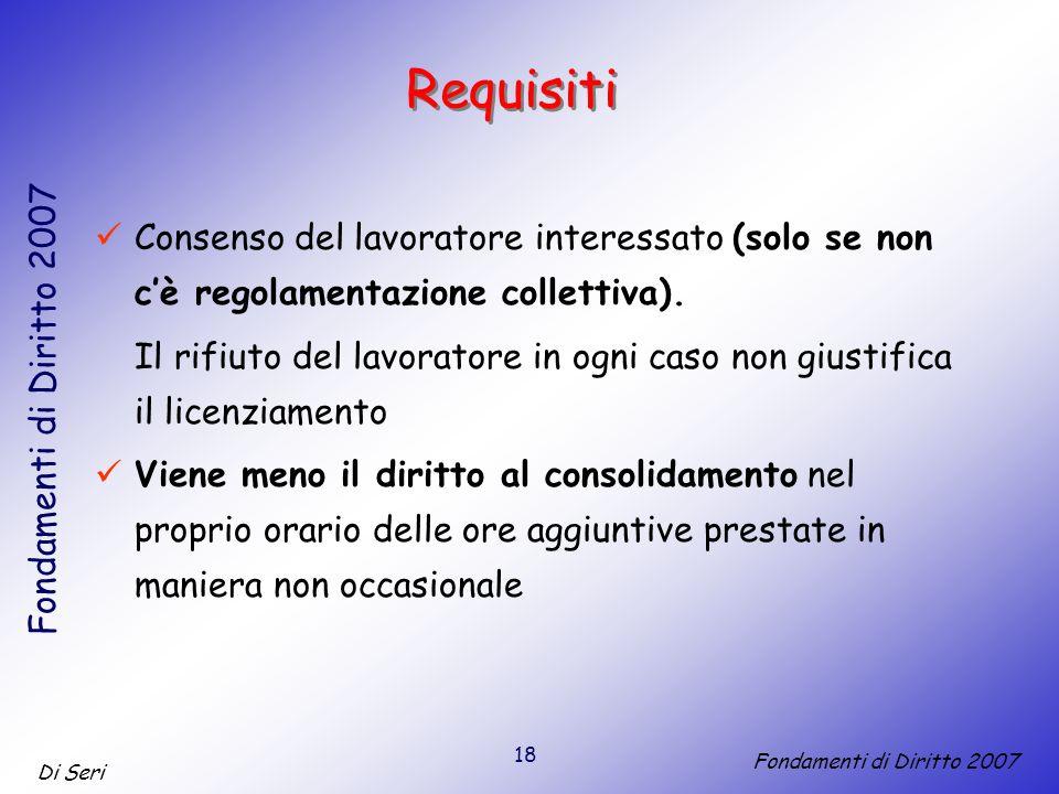 18 Di Seri Fondamenti di Diritto 2007 Requisiti Consenso del lavoratore interessato (solo se non cè regolamentazione collettiva).