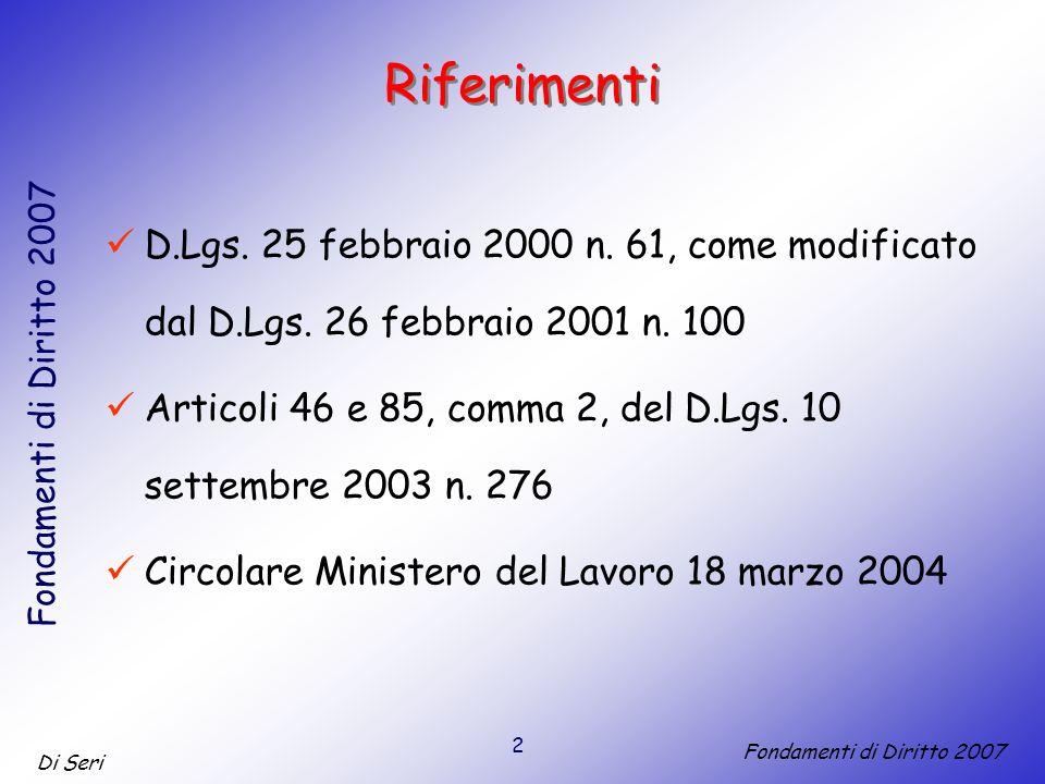 2 Di Seri Fondamenti di Diritto 2007 Riferimenti D.Lgs.