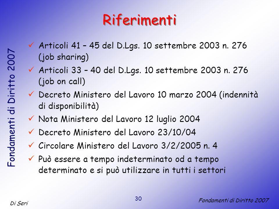 30 Di Seri Fondamenti di Diritto 2007 Riferimenti Articoli 41 – 45 del D.Lgs.