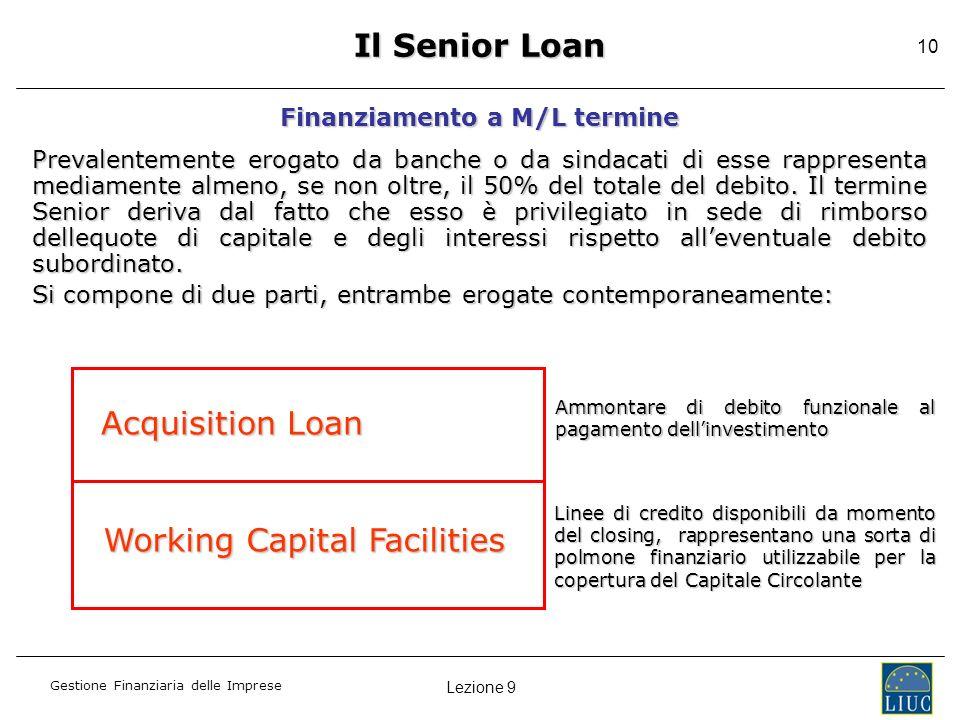 Lezione 9 Gestione Finanziaria delle Imprese 10 Il Senior Loan Finanziamento a M/L termine Prevalentemente erogato da banche o da sindacati di esse ra