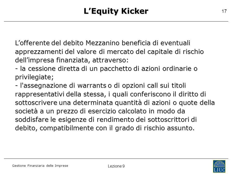 Lezione 9 Gestione Finanziaria delle Imprese 17 Lofferente del debito Mezzanino beneficia di eventuali apprezzamenti del valore di mercato del capital