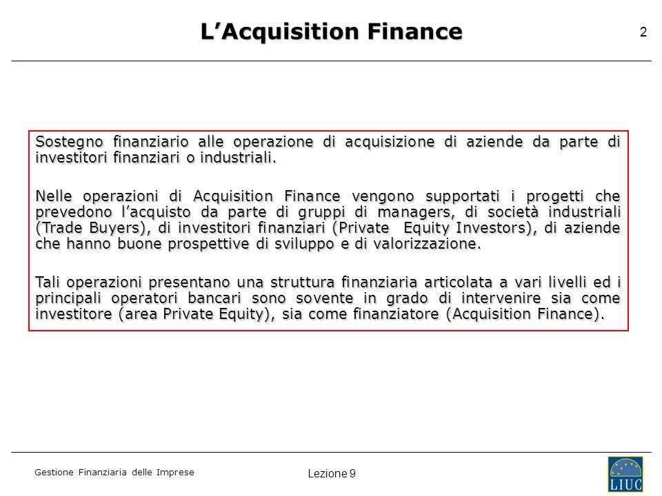 Gestione Finanziaria delle Imprese 2 Sostegno finanziario alle operazione di acquisizione di aziende da parte di investitori finanziari o industriali.