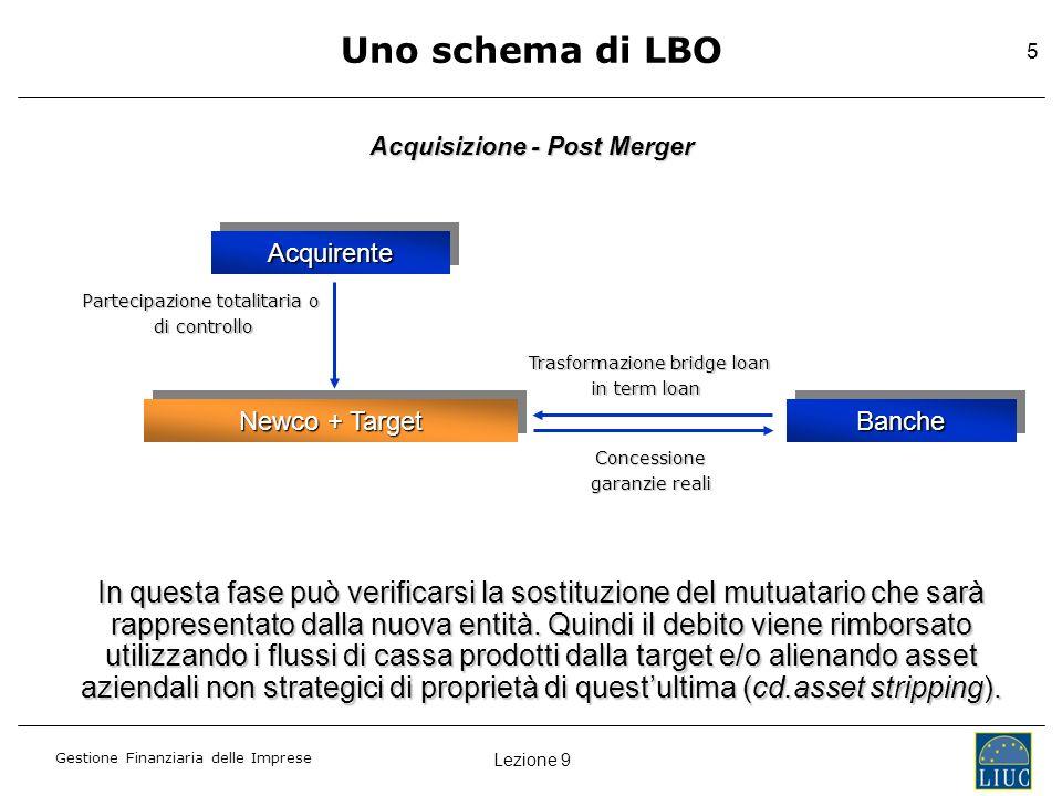 Lezione 9 Gestione Finanziaria delle Imprese 5 AcquirenteAcquirente Newco + Target BancheBanche Partecipazione totalitaria o di controllo di controllo