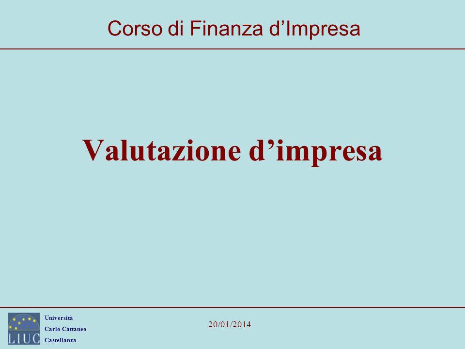 Università Carlo Cattaneo Castellanza 20/01/2014 Valutazione dimpresa Corso di Finanza dImpresa