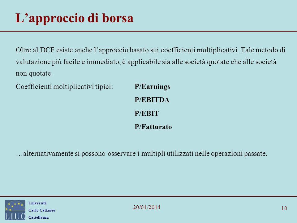 Università Carlo Cattaneo Castellanza 20/01/2014 10 Lapproccio di borsa Oltre al DCF esiste anche lapproccio basato sui coefficienti moltiplicativi.