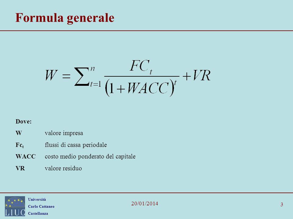 Università Carlo Cattaneo Castellanza 20/01/2014 3 Formula generale Dove: Wvalore impresa Fc t flussi di cassa periodale WACCcosto medio ponderato del capitale VRvalore residuo
