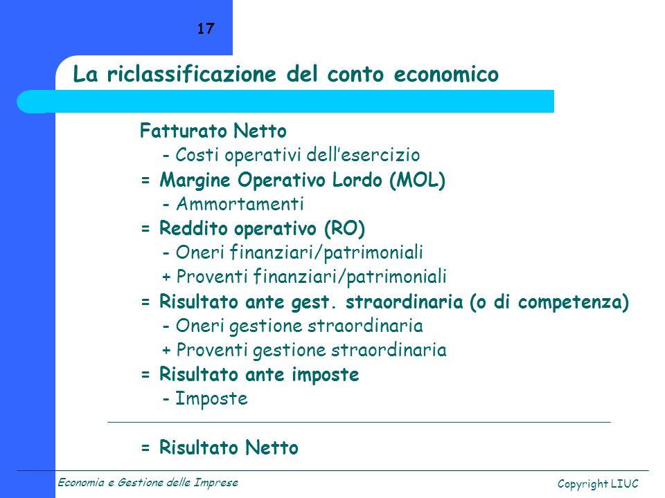 Economia e Gestione delle Imprese Copyright LIUC 17 Fatturato Netto - Costi operativi dellesercizio = Margine Operativo Lordo (MOL) - Ammortamenti = Reddito operativo (RO) - Oneri finanziari/patrimoniali + Proventi finanziari/patrimoniali = Risultato ante gest.