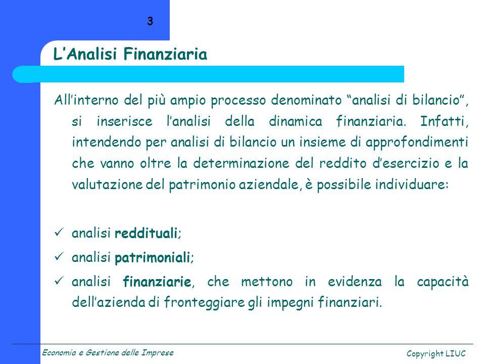 Economia e Gestione delle Imprese Copyright LIUC 14 Lettura in chiave finanziaria del bilancio Prospetto Fonti/Impieghi Riclassificazioni del bilancio Rendiconto Finanziario Le fasi dellanalisi della dinamica finanziaria