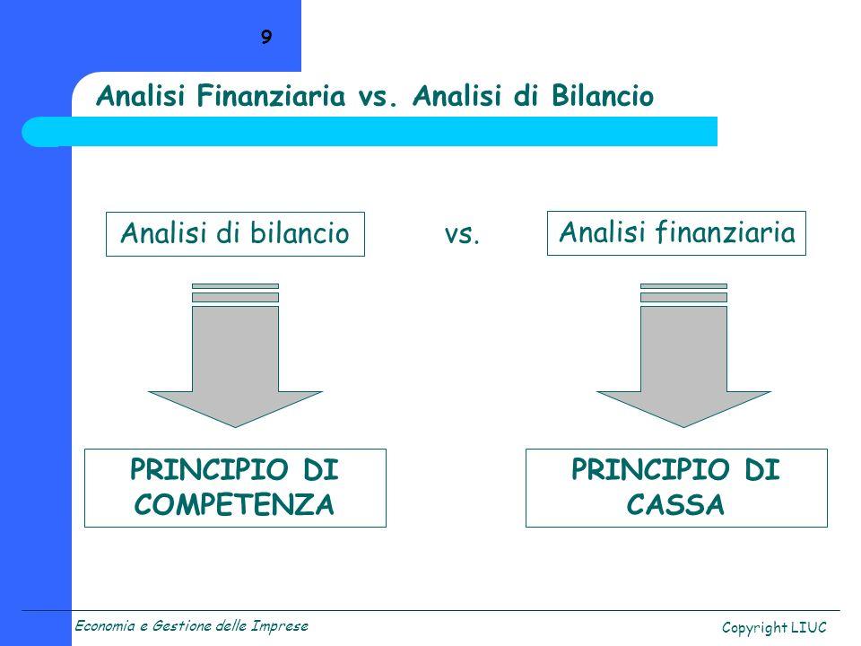 Economia e Gestione delle Imprese Copyright LIUC 9 Analisi Finanziaria vs. Analisi di Bilancio Analisi di bilancio Analisi finanziaria vs. PRINCIPIO D