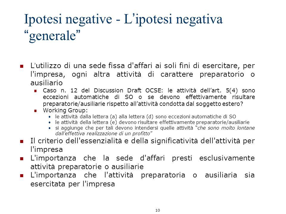 10 Ipotesi negative - L ipotesi negativa generale L utilizzo di una sede fissa d'affari ai soli fini di esercitare, per l'impresa, ogni altra attivit