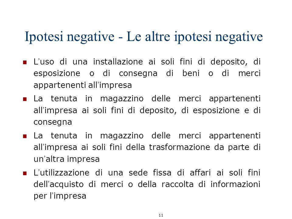 11 Ipotesi negative - Le altre ipotesi negative L uso di una installazione ai soli fini di deposito, di esposizione o di consegna di beni o di merci a