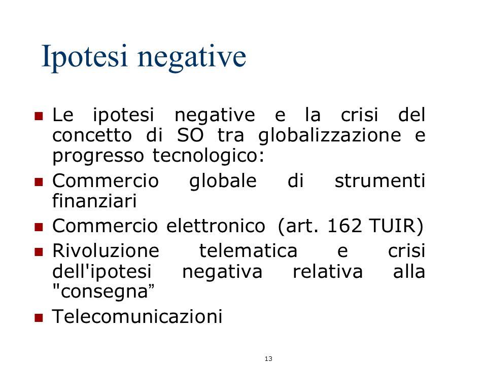 13 Ipotesi negative Le ipotesi negative e la crisi del concetto di SO tra globalizzazione e progresso tecnologico: Commercio globale di strumenti fina
