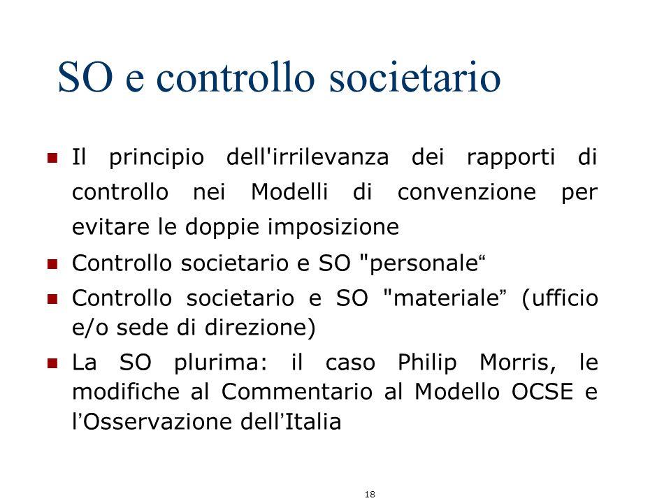 18 SO e controllo societario Il principio dell'irrilevanza dei rapporti di controllo nei Modelli di convenzione per evitare le doppie imposizione Cont