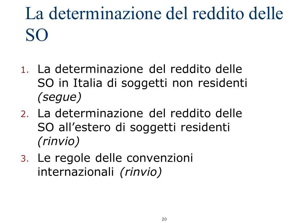 20 La determinazione del reddito delle SO 1. La determinazione del reddito delle SO in Italia di soggetti non residenti (segue) 2. La determinazione d