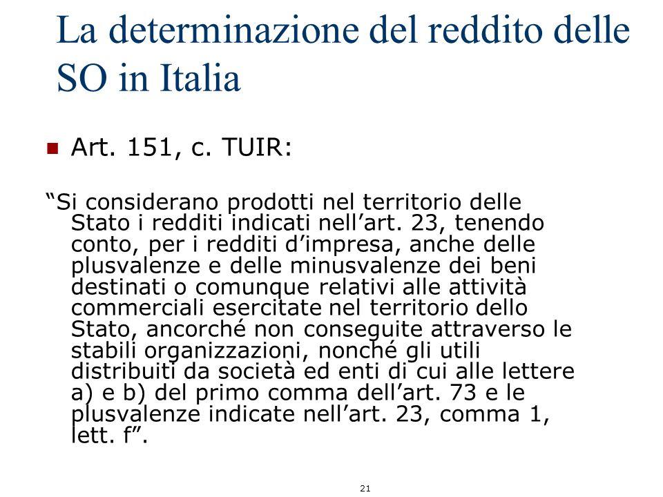 21 La determinazione del reddito delle SO in Italia Art. 151, c. TUIR: Si considerano prodotti nel territorio delle Stato i redditi indicati nellart.