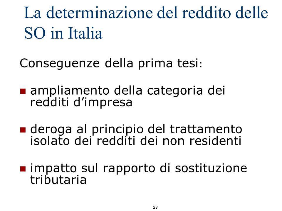 23 La determinazione del reddito delle SO in Italia Conseguenze della prima tesi : ampliamento della categoria dei redditi dimpresa deroga al principi