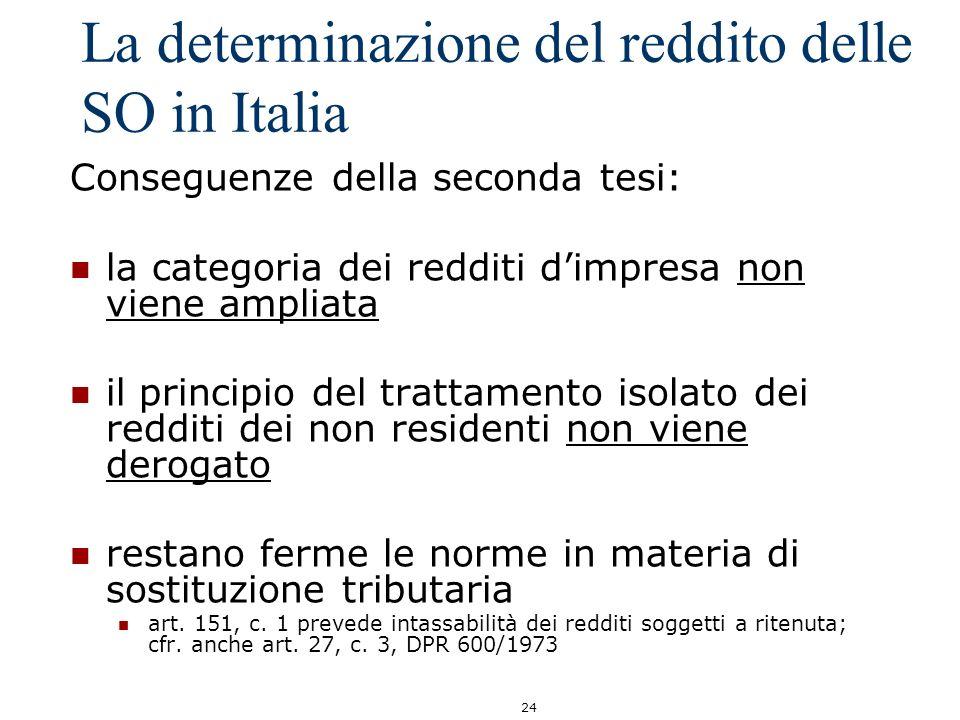 24 La determinazione del reddito delle SO in Italia Conseguenze della seconda tesi: la categoria dei redditi dimpresa non viene ampliata il principio