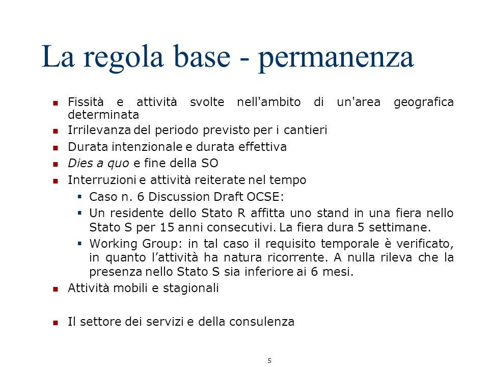 5 La regola base - permanenza Fissit à e attivit à svolte nell'ambito di un'area geografica determinata Irrilevanza del periodo previsto per i cantier