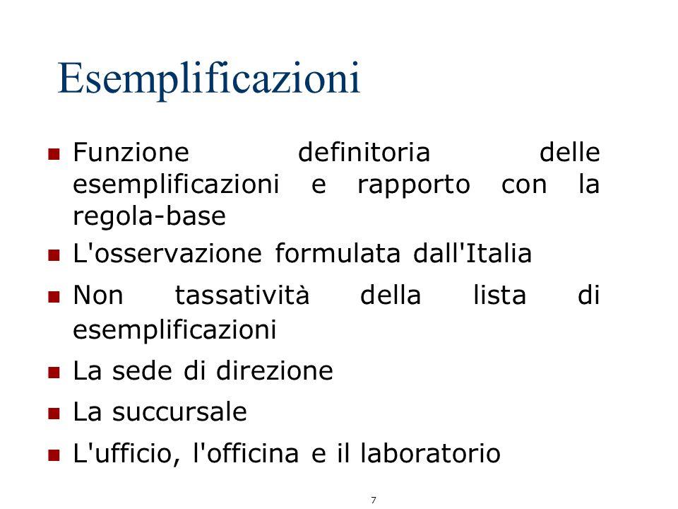 7 Esemplificazioni Funzione definitoria delle esemplificazioni e rapporto con la regola-base L'osservazione formulata dall'Italia Non tassativit à del