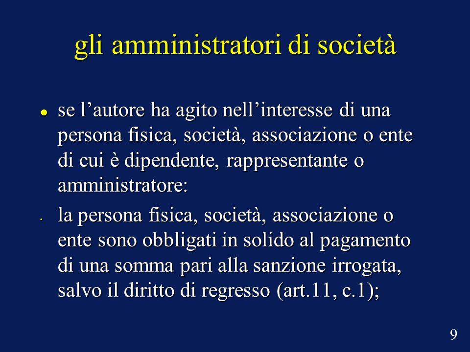 gli amministratori di società se lautore ha agito nellinteresse di una persona fisica, società, associazione o ente di cui è dipendente, rappresentant