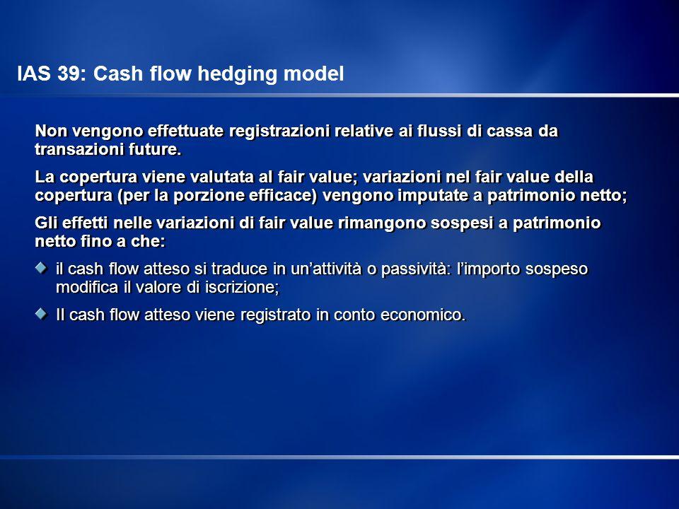 Non vengono effettuate registrazioni relative ai flussi di cassa da transazioni future. La copertura viene valutata al fair value; variazioni nel fair