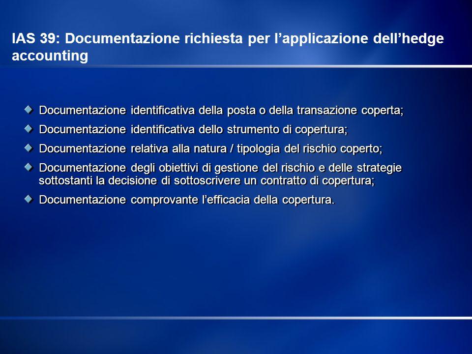 Documentazione identificativa della posta o della transazione coperta; Documentazione identificativa dello strumento di copertura; Documentazione rela