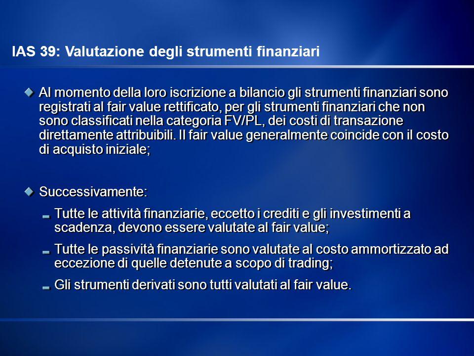 Al momento della loro iscrizione a bilancio gli strumenti finanziari sono registrati al fair value rettificato, per gli strumenti finanziari che non s