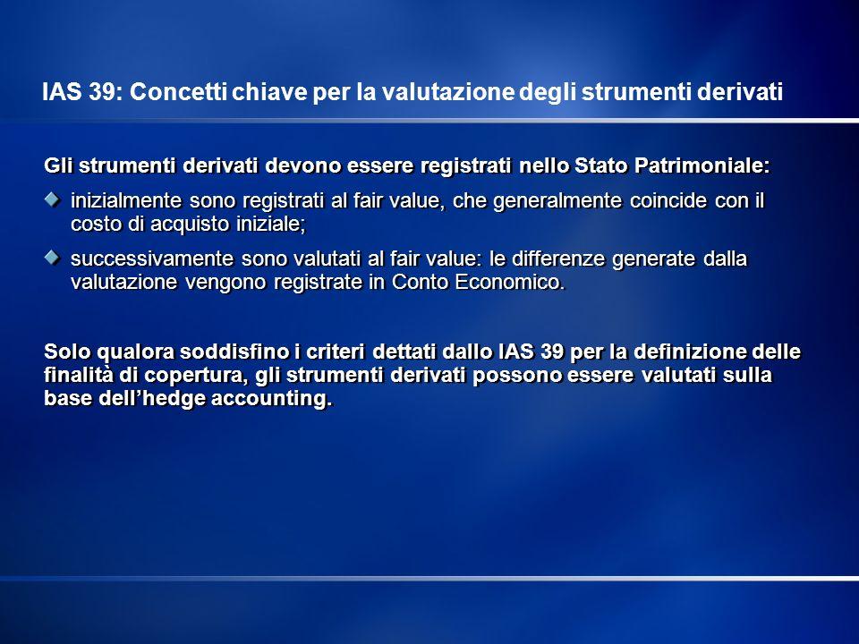 Tutti i derivati sono rilevati nello Stato Patrimoniale Sopra la linea I derivati sono misurati al fair value Il fair value dello strumento di copertura è la base dell hedge accounting IAS 39: Contabilizzazione degli strumenti derivati