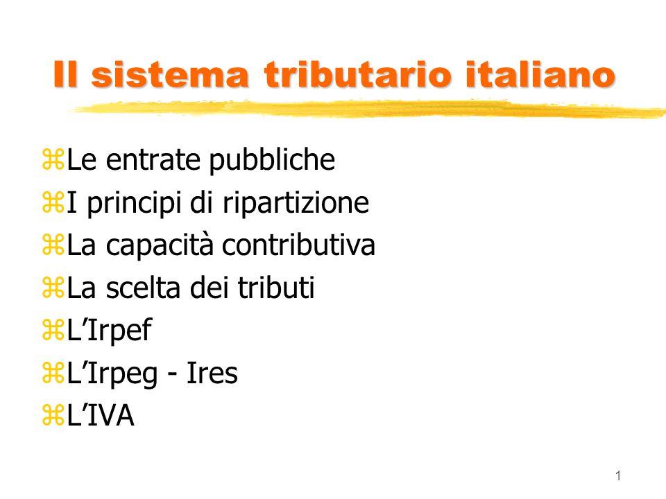 1 Il sistema tributario italiano zLe entrate pubbliche zI principi di ripartizione zLa capacità contributiva zLa scelta dei tributi zLIrpef zLIrpeg -