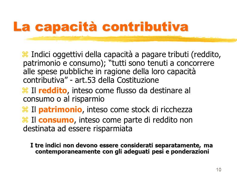 10 La capacità contributiva z Indici oggettivi della capacità a pagare tributi (reddito, patrimonio e consumo); tutti sono tenuti a concorrere alle sp
