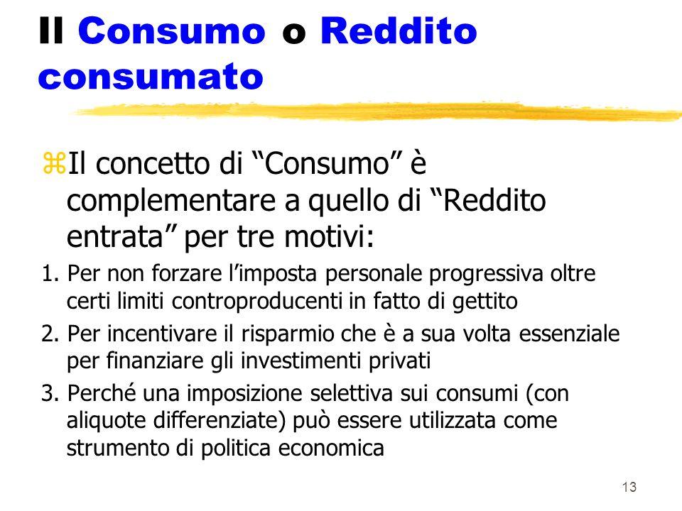 13 Il Consumo o Reddito consumato zIl concetto di Consumo è complementare a quello di Reddito entrata per tre motivi: 1. Per non forzare limposta pers
