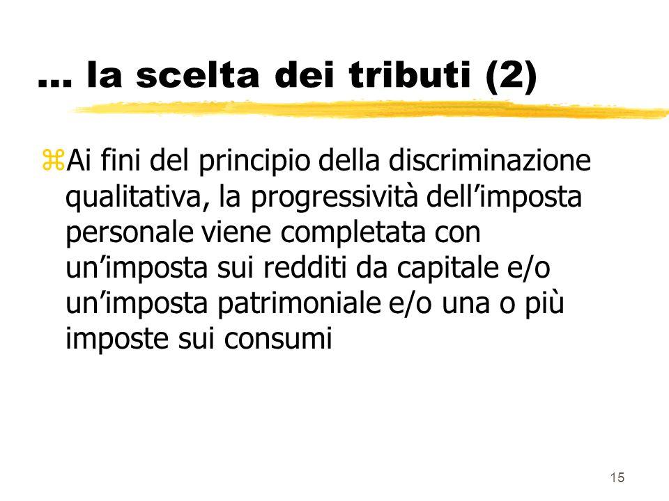 15 … la scelta dei tributi (2) zAi fini del principio della discriminazione qualitativa, la progressività dellimposta personale viene completata con u