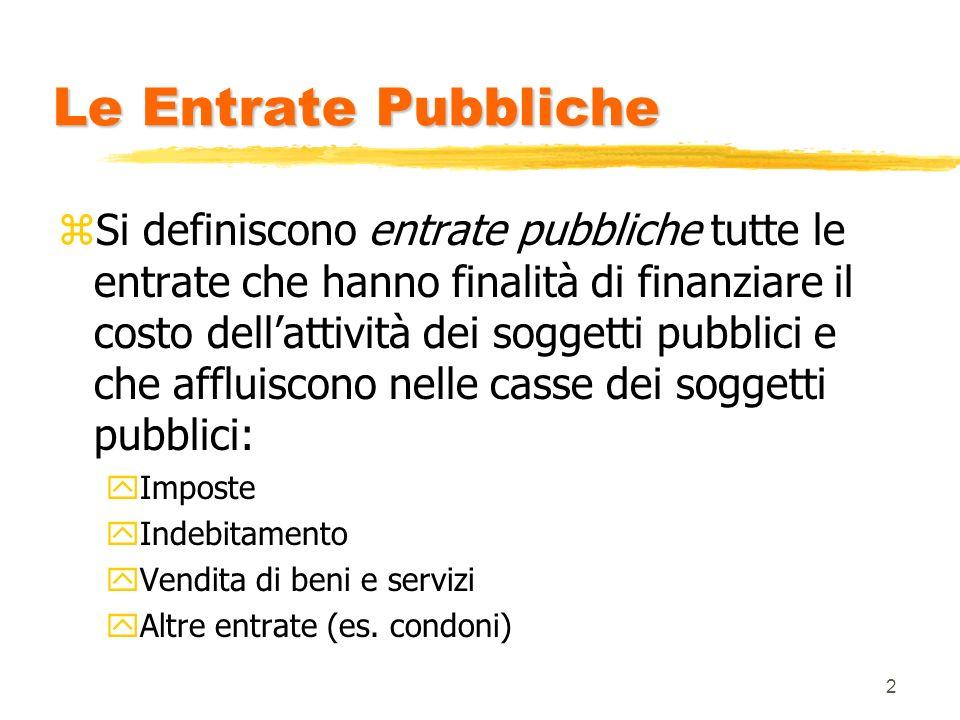 2 Le Entrate Pubbliche zSi definiscono entrate pubbliche tutte le entrate che hanno finalità di finanziare il costo dellattività dei soggetti pubblici