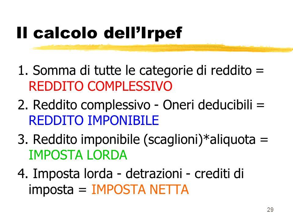 29 Il calcolo dellIrpef 1. Somma di tutte le categorie di reddito = REDDITO COMPLESSIVO 2. Reddito complessivo - Oneri deducibili = REDDITO IMPONIBILE