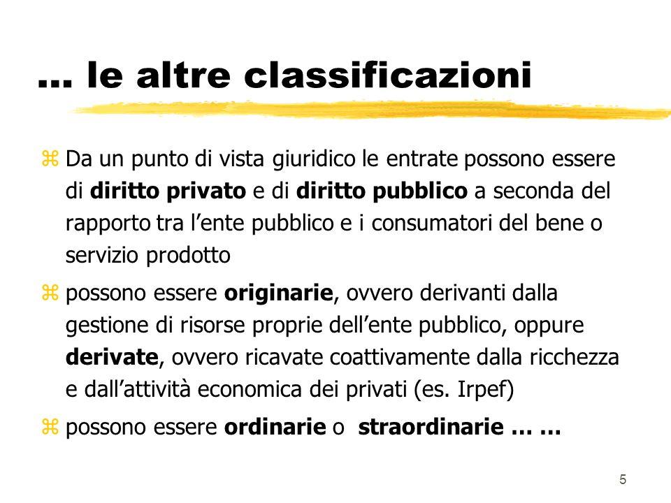 5 … le altre classificazioni zDa un punto di vista giuridico le entrate possono essere di diritto privato e di diritto pubblico a seconda del rapporto