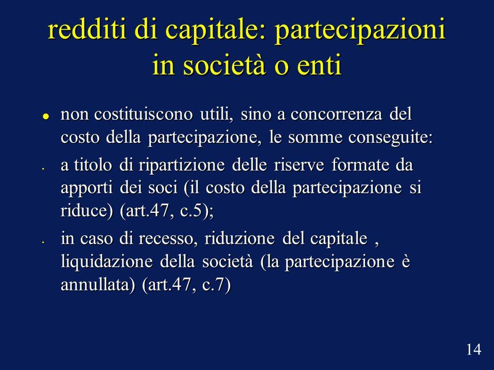 redditi di capitale: partecipazioni in società o enti non costituiscono utili, sino a concorrenza del costo della partecipazione, le somme conseguite: non costituiscono utili, sino a concorrenza del costo della partecipazione, le somme conseguite: a titolo di ripartizione delle riserve formate da apporti dei soci (il costo della partecipazione si riduce) (art.47, c.5); a titolo di ripartizione delle riserve formate da apporti dei soci (il costo della partecipazione si riduce) (art.47, c.5); in caso di recesso, riduzione del capitale, liquidazione della società (la partecipazione è annullata) (art.47, c.7) in caso di recesso, riduzione del capitale, liquidazione della società (la partecipazione è annullata) (art.47, c.7) 14
