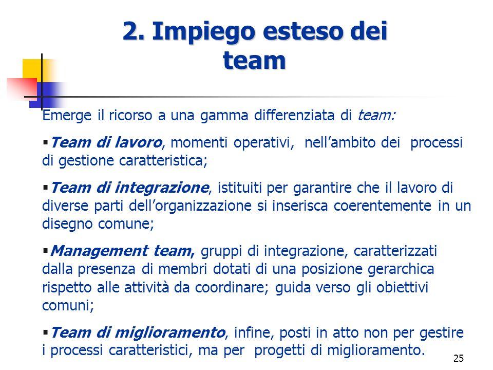 24 1. Enfasi sulla dimensione cliente 1. Enfasi sulla dimensione cliente Concepire lorganizzazione come un insieme di risorse e competenze tra loro in