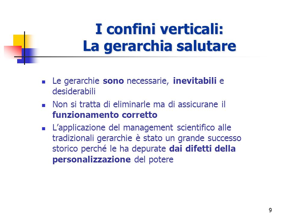 8 Analisi dei diversi tipi di confini Verticali Verticali: tra livelli e strati gerarchici di personale CONFINI ORGANIZZATIVI