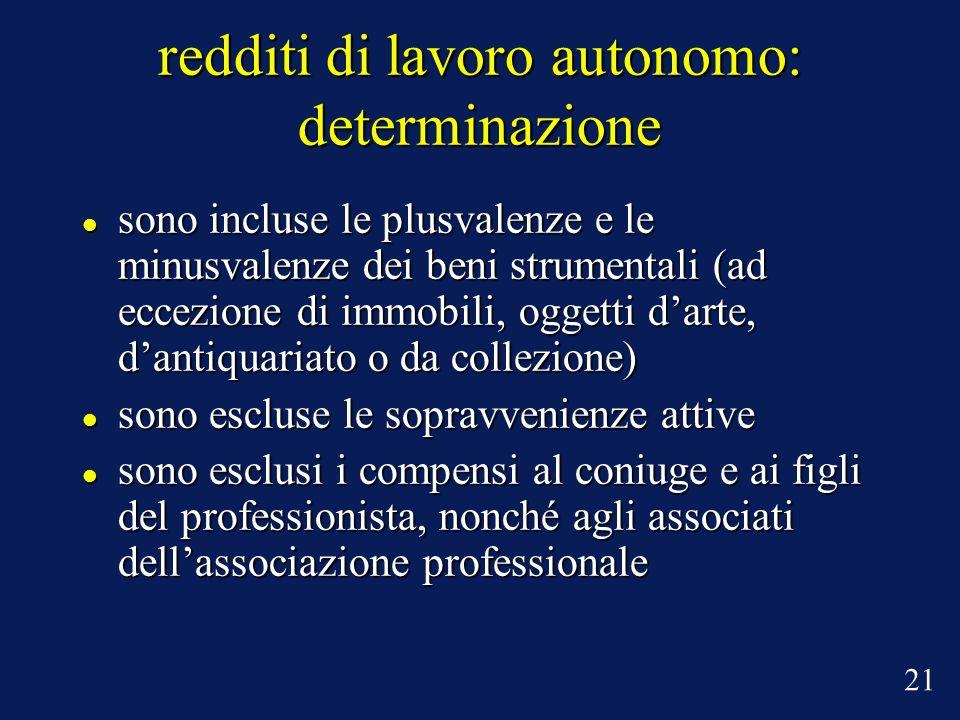 redditi di lavoro autonomo: determinazione sono incluse le plusvalenze e le minusvalenze dei beni strumentali (ad eccezione di immobili, oggetti darte