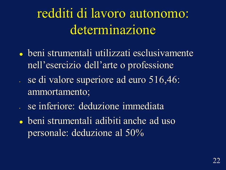 redditi di lavoro autonomo: determinazione beni strumentali utilizzati esclusivamente nellesercizio dellarte o professione beni strumentali utilizzati