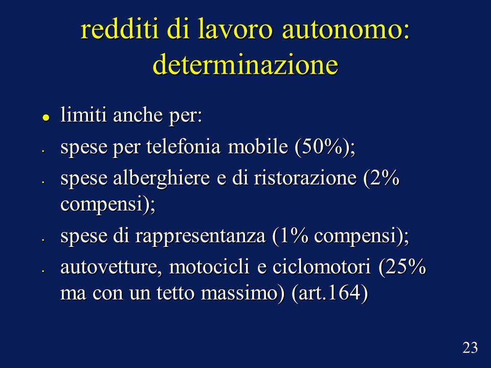 redditi di lavoro autonomo: determinazione limiti anche per: limiti anche per: spese per telefonia mobile (50%); spese per telefonia mobile (50%); spe