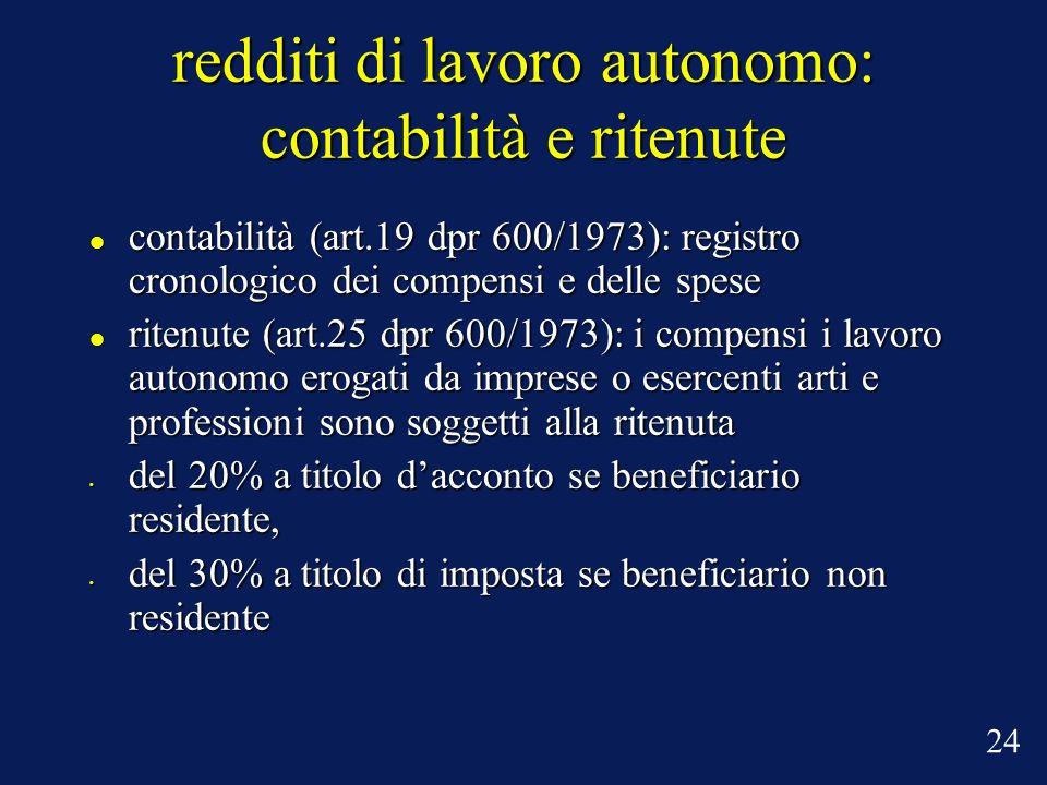 redditi di lavoro autonomo: contabilità e ritenute contabilità (art.19 dpr 600/1973): registro cronologico dei compensi e delle spese contabilità (art